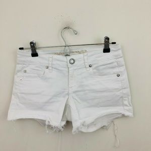American Eagle White Denim Super Low Shortie Short